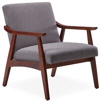 Mid-Century Upholstered Accent Chair Living Room Linen Armchair W/Wood Leg, Grey