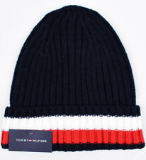 TOMMY HILFIGER Knitted Beanie Hat, Navy Blue with Stripes, One Size Adult