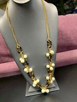 """Signed J Crew Gold Tortoise shell Link pearl Enhanced Long Sweater Necklace 32"""""""