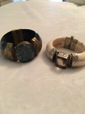 Lot Of 2 Antique Vintage Bracelet Turquoise /agemstone ,netsuke