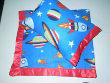 NEW Spaceship Planets Satin Fleece Childrens Blanket/Pillow Case Baby Gift