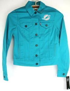 Levis Womens NFL Miami Dolphins Twill Trucker Jacket Teal Orange Size XS NWT $98