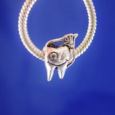 Tooth Teeth Dentist Brush Dental Hygienist Ortho Silver European Charm Bead