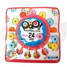 24pcs Daiso Japan Pop Flower Food Picks Fun Kitchen lunch box catering decor @US