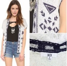 Jack by BB Dakota Women's Knit Jacquard Open Cardigan Sz Small Boho Sleeveless