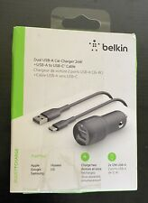 Belkin 2-Port Universal Car Charger A to C Cable - Black (CCE001bt1MBK)