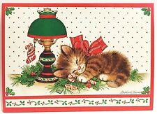 Vntg Christmas Cards Kitten Sleeping Lamp 10 Paper Magic Group Stephanie Harney