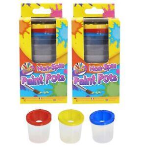 Set Of 6 Non Spill Children's Plastic Lidded Paint Pots Arts Crafts 7.5cm x 7cm