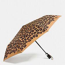 Coach F64150 Umbrella in Signature Ocelot Print Leopard Brown New With Tag