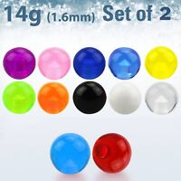 2pcs. 14g~8mm UV Acrylic Balls with Threaded Ball Replacement Top Parts