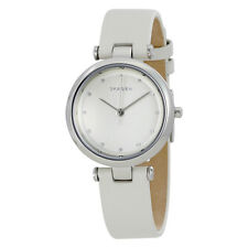 Skagen Tanja Silver Dial White Leather Ladies Watch SKW2517