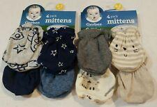 Gerber Baby Boy's 8 Pack Organic Mittens Size 0-3 Months NEW Super Cute