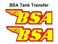 BSA Tank Transfers Decals Motorcycle D50089 Red Yellow Outline B40 B44 B50 A65