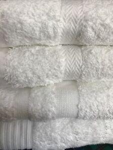 Set Of 4 Luxury White Cotton Towels 1 X Sheet 1 X Bath 2 X Hand Free Postage New