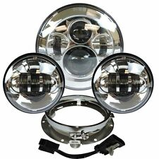 "7"" Chrome LED Projector Daymaker Headlight + Passing Lights For Harley Touring S"