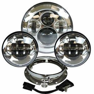 "7"" Daymaker LED Headlight For Harley Davidson Heritage Softail Classic FLSTC Chr"
