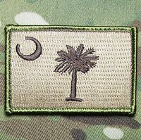 SOUTH CAROLINA STATE FLAG TACTICAL MILITARY MORALE MULTICAM HOOK BADGE PATCH