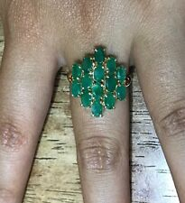 14k Solid Yellow Gold Cluster Ring With Natural Emerald Oval Cut 3.85GM/Size 7