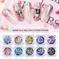 Nail Glitter Sequins Holographic Mixed Nail Art Tips Colorful Nail Decorations