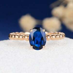 2Ct Oval Cut Solitaire Blue Tanzanite Womens Engagement Ring 14KRose Gold Finish