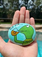 Hand Painted Rock Stone Art Kermit The Frog Meme But That's None Of My Business