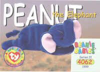 TY Beanie Babies BBOC Card - Series 2 Common - PEANUT the Elephant - NM/Mint