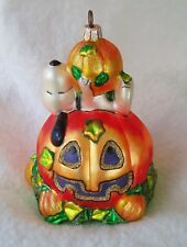 Peanuts Kurt Adler Polonaise Glass Halloween Ornament Pile of Pumpkins Snoopy