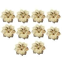 10Pcs Flower Design Napkin Rings Metal Gold Napkin Buckle Napkin Ring Holde B8N2