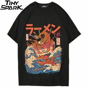 Japanese Harajuku S/S Cotton T-Shirt Hip Hop Noodle Ship Cartoon Streetwear Top