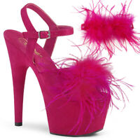 Pleaser ADORE-709F Women's Hot Pink Faux Suede Feather Heel Ankle Strap Sandals
