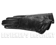 GUCCI black 7 leather GG GUCCISSIMA Cashmere-lined Gloves NWT Authen in Box $560