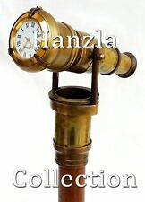 Antique  Brass HIDDEN TELESCOPE Vintage Canes With Clock Wooden Walking Stick