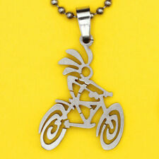 Kokopelli Bicycle Pendant-stainless steel FREE beaded chain necklace