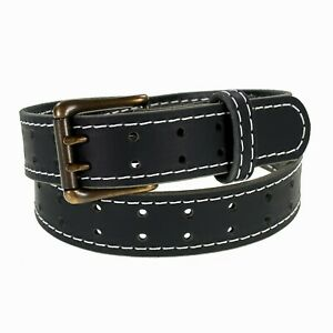 """Mens Buffalo Leather Belt_Antique Brass Double Prong Buckle, 1 ½"""" Amish Handmade"""