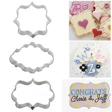 3pcs Cookies Pastry Fondant Cake Sugarcraft Decorating Mold Frame Cutter Tool CN