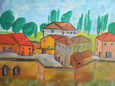 Cubist landscape cityscape vintage oil painting signed