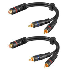 2 Stück Goobay® Cinch Y-Kabel Subwooferkabel Y Adapter Verteiler Chinch CAR Hifi