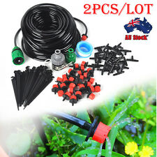 2X 25m DIY Micro Drip Irrigation System Plant Self Watering Garden Hose Kits AU
