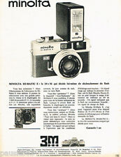 PUBLICITE ADVERTISING 085  1971  MINOLTA  appareil photo HI-MATIC E