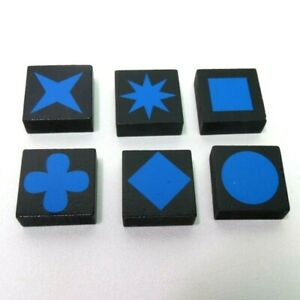 2006 Qwirkle Game Replacement Parts Pieces-Set of 6 Blue Tiles One of Each Shape