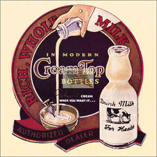 REPRINT PICTURE of older milk bottle sign CREAM TOP BOTTLE whipped cow dairy 6x6