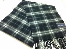 $425 CLUB ROOM Men BLACK WHITE BLUE PLAID CHECK WARM WINTER CASHMERE SHAWL SCARF