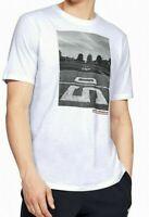 Under Armour Mens T-Shirt White Size Medium M Football Graphic Tee Crew $25- 367