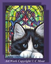 Tuxedo Kitten Cat Prayers Stained Glass Window ACEO Limited Ed Art Print