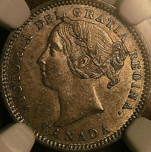 1881H CANADA SILVER 10 CENTS DIME COIN - NGC AU-58 - Obverse #2
