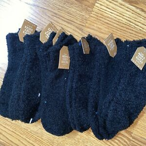 7 Pairs Men Soft Cozy Fuzzy Socks Solid Black Winter Home Slipper 10-13