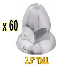 Steel Chrome Bullet Push-On Nut Covers w/ Flange - 60 PCS (33mm)  - Semi Truck
