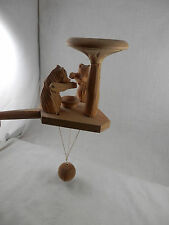Vintage USSR Russian Wooden Marionette puppet Bears eating string toy