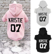 Personalised Dog Hoodie Clothes Custom Name Number Engraved Soft Pet Sweater