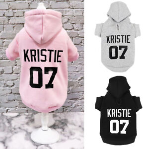 Personalised Dog Clothes Custom Name Number Hoodie Warm Boy/Girl Sweater XS-5XL